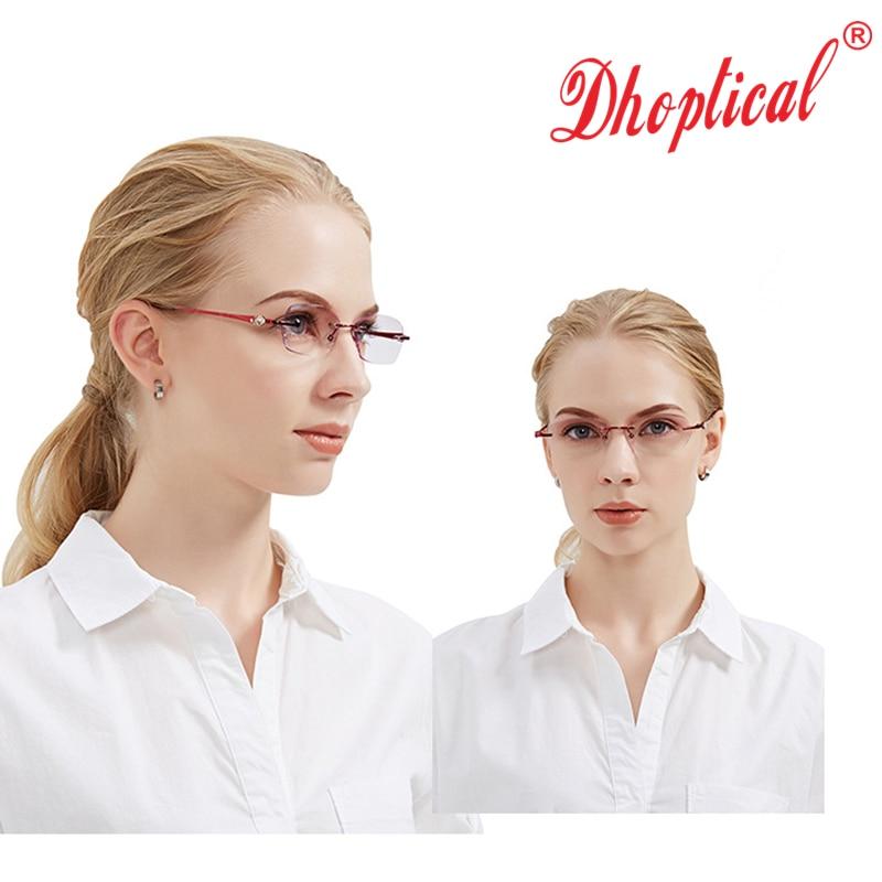 b460d38c7e7 Best buy Reading Glasses Women Purple Resin Lenses Eyewear Ladies Rimless  Eyeglasses Lightweight Female Reader Glasses online cheap