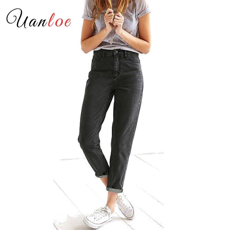 2019 New High Waist Boyfriend Jeans Womens Black True Denim Pants Mom Jean Femme For -6033
