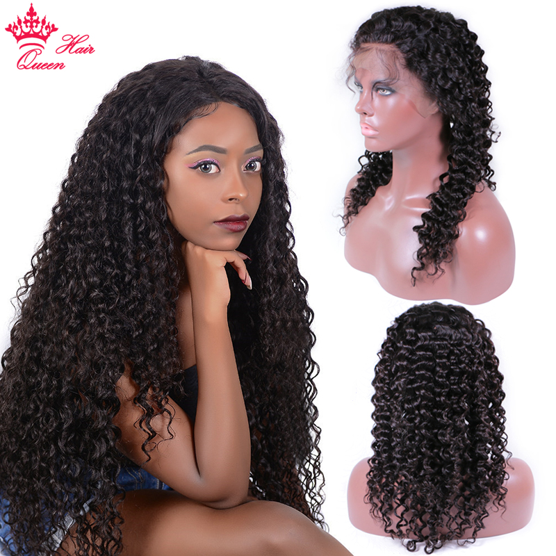 Queen Hair Products Deep Wave Lace Front Wigs Brazilian Human Hair Pre Plucked Lace Frontal Wig