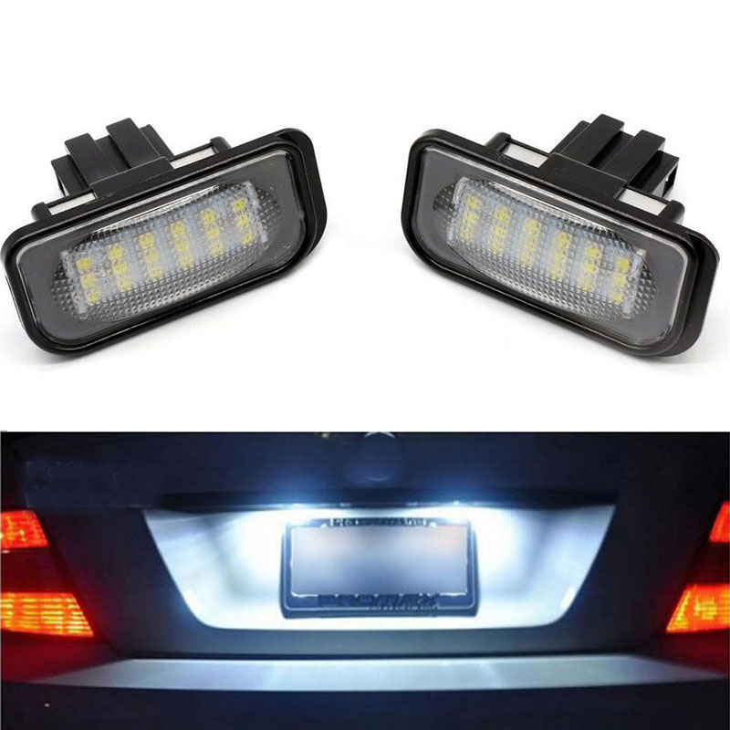 2PCS 18LED Error Free Car LED License Plate Light White Lamp For 2000-2007 Mercedes Benz W203 4D C320 C350 Number Plate Light 10pcs error free led lamp interior light kit for mercedes for mercedes benz m class w163 ml320 ml350 ml430 ml500 ml55 amg 98 05