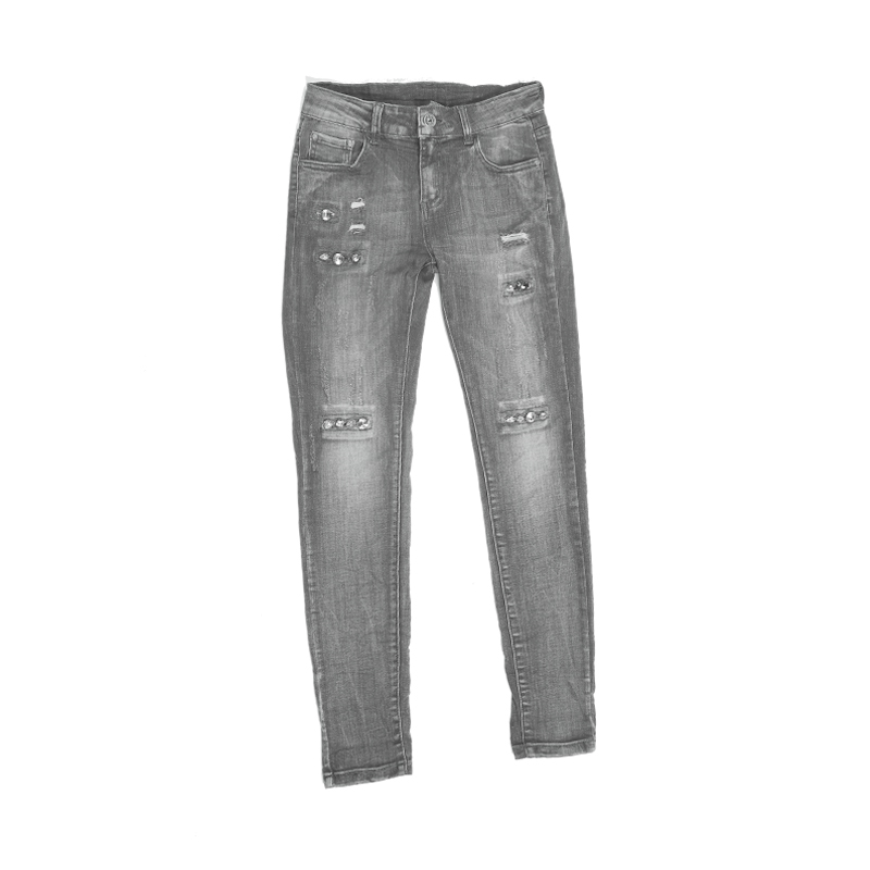 My Will Jeans Gray High-Elastic Hand-Stitched Fashion Crystal Jeans Hole  Fashion  Made In China 6111