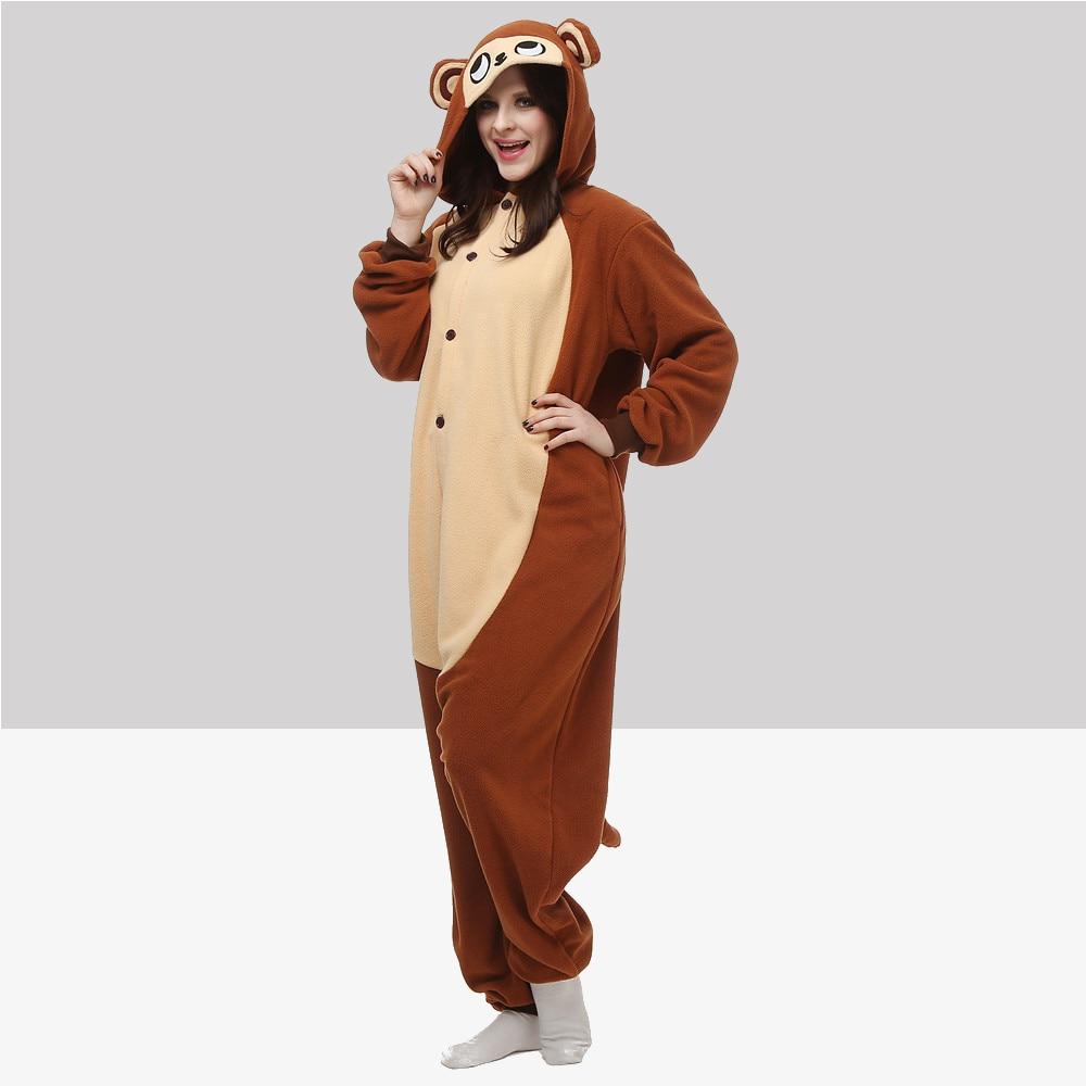 Unisex Adult Animal Monkey Polar Fleece Cosplay Costume Pajamas Party Onesies Pyjamas Sleepwear Fancy Dress One-Piece