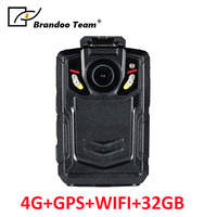 32GB Full HD 1080P Police Body Worn Video Camera Recorder DVR IR Night Cam with 4G GPS WIFI function