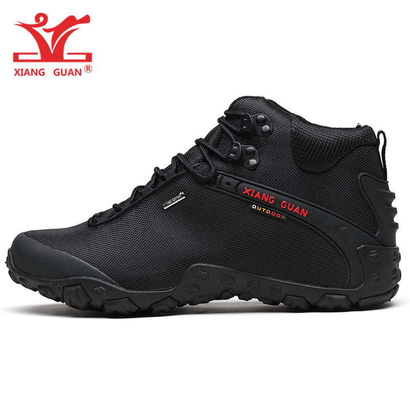 XIANG GUAN Man Hiking Shoes Men Black Trekking Boots Medium Cut Breathable Sports Climbing Camping Outdoor
