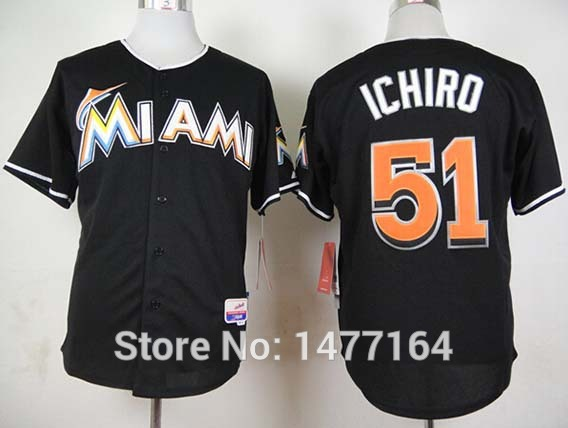 c9f35aa58 Special Offer Miami Marlins  51 Ichiro Suzuki Baseball Jersey Shirt Black  Alternate Premier Stitched Mens Embroidery Logos size