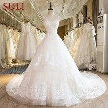 SL 25 Nuovo Sweetheart Cattedrale di Treno Lace up Perle Abito Da Sposa 2017
