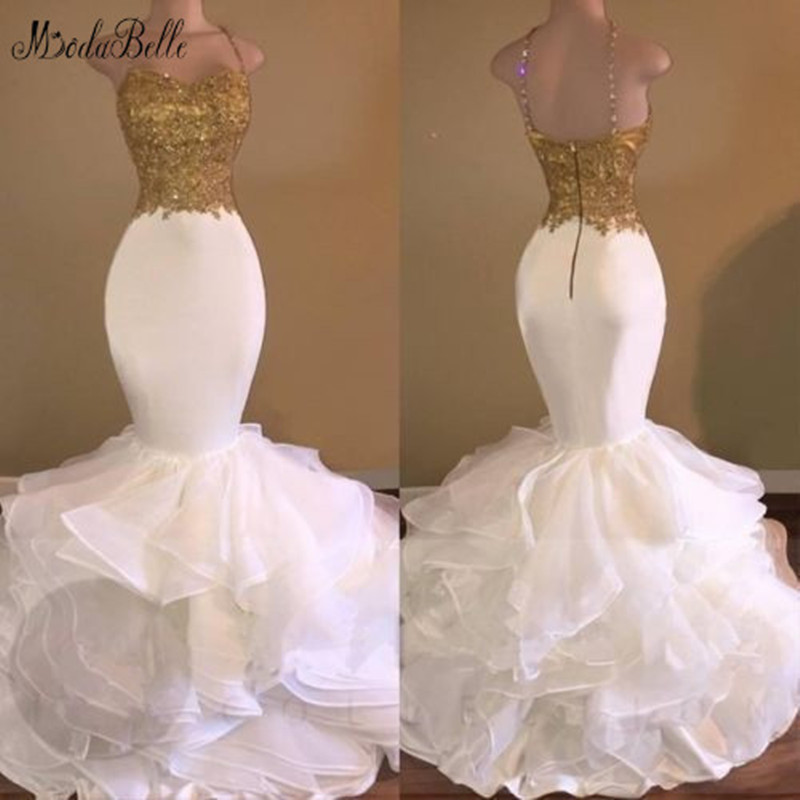 modabelle Long Mermaid White and Gold   Prom     Dress   Vestidos   Prom   2019 Lace Ruffled Organza Evening Gown Ballkleider Lang