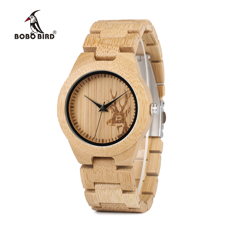 BOBO BIRD E04 Kvinnors Elk Deer Design Dial Mode Bamboo Watch Japan Quartz Bamboo Band Klockor Som Bästa Gåva För Damer Relojio