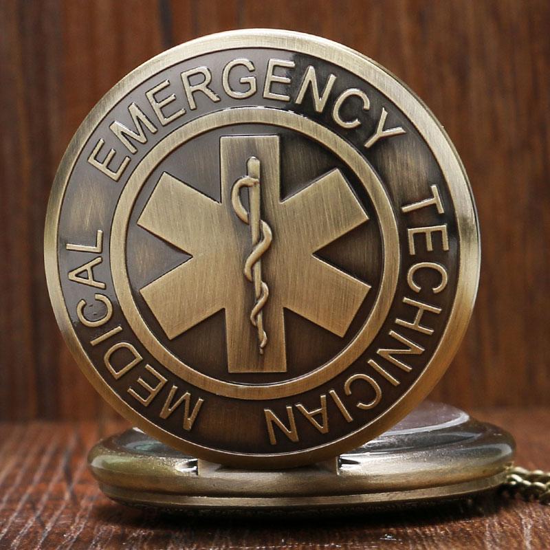 EMT Emergency Medical Technician Paramedic Badge Star Of Life EMS Rescue Nurse Doctor Quartz Pocket Watch Necklace Pendant Gift