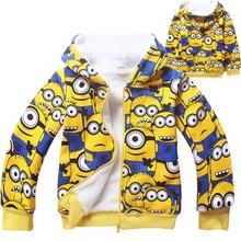 2016 New Arrival Boys & Girls Winter Coral Fleece Minions Hoodies Kids Brand Cartoon Hooded Clothes Children Sweatshirts , LC440