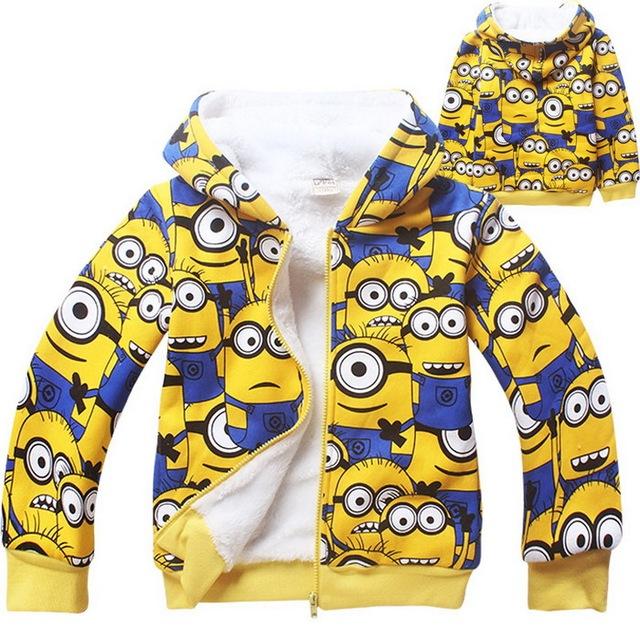 2016 nova chegada meninos e meninas inverno Coral de lã Minions Hoodies crianças roupas crianças dos desenhos animados com capuz camisolas, Lc440
