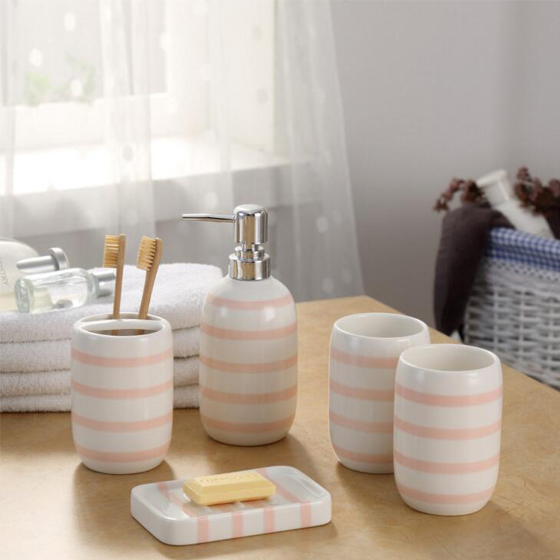 Simple Pink Ceramic Bath Room Products Striped Dispenser Bottle Dish  Toothbrush Holder Bathroom Accessories Sets High Quality In Bathroom  Accessories Sets ...