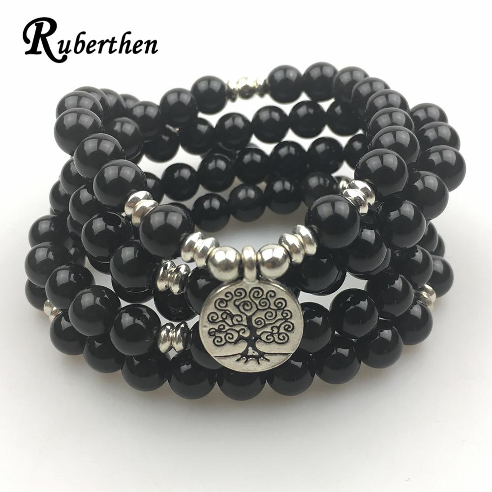 Ruberthen High Quality Women`s Bracelet Fashion 108 Mala Bracelet or Necklace Natural Black Yoga Tree of Life Jewelry