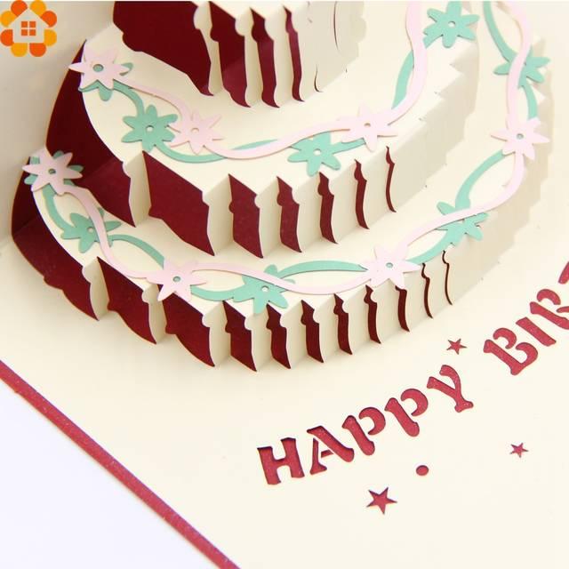 1 PC Cartões De Feliz Aniversário Bolo de Aniversário 3D Cartão de