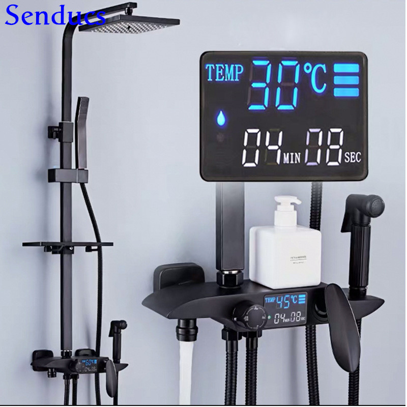 Senducs Digital Shower Set Newly Brass Bathroom Shower Faucet Spa Rainfall Shower Head Black Shower System Thermostatic Shower