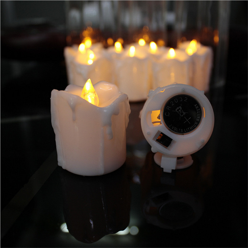 Set Of 12 Amber Flameless Led Candles With Timerflameless Tea