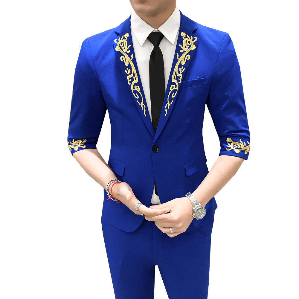 British Style Casual Single Breasted Suit Seven Part Sleeve 2019 Summer Embroidery Men's 2 Piece Suit Set (Blazer + Pants)