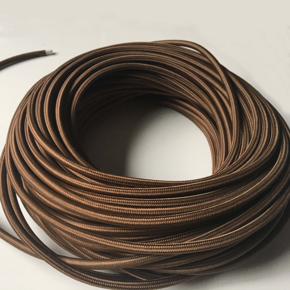 3x0.75mm2 <font><b>5</b></font>/10M 3 <font><b>Core</b></font> Fabric Lamp <font><b>Wire</b></font> Vintage Lamp Cord Knitted Cloth Braided Retro Copper Electrical <font><b>Wire</b></font> Pendant Light Cable image
