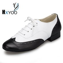 HXYOO 2017 New Model Black White Mix Color Men Latin Dance Shoes  Ballroom Shoes Salsa Tango L147