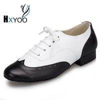 HXYOO 2017 New Model Black White Mix Color Men Latin Dance Shoes Ballroom Shoes Salsa Tango L147