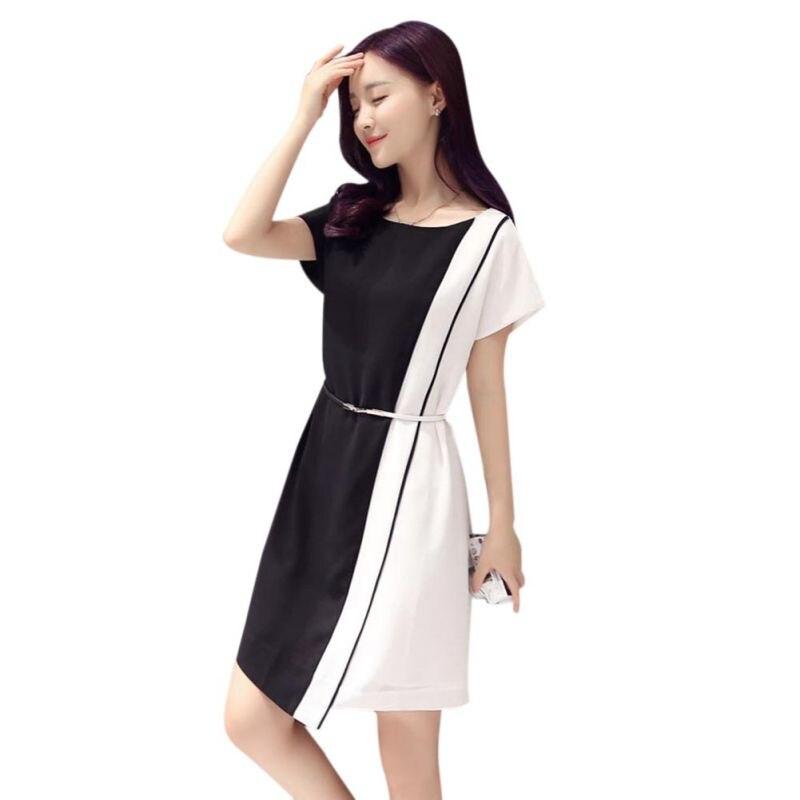Black White Patchwork Dress Office Lady Short Sleeve Plus Size Female Casual Dress Stylish Korean Summer Chiffon Mini Dress 3XL short dresses office wear