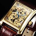 2017 sewor marca de luxo da moda retângulo de ouro esqueleto relógios dos homens relógio de pulso de couro marrom relógios de pulso masculino relógio mecânico