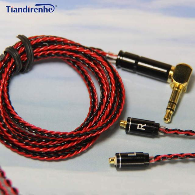 Tiandirenhe MMCX Cable for Shure SE215 SE535 SE846 Earphone 8 Shares Silver Plated Headset Cable Manual Weaving upgrade Line