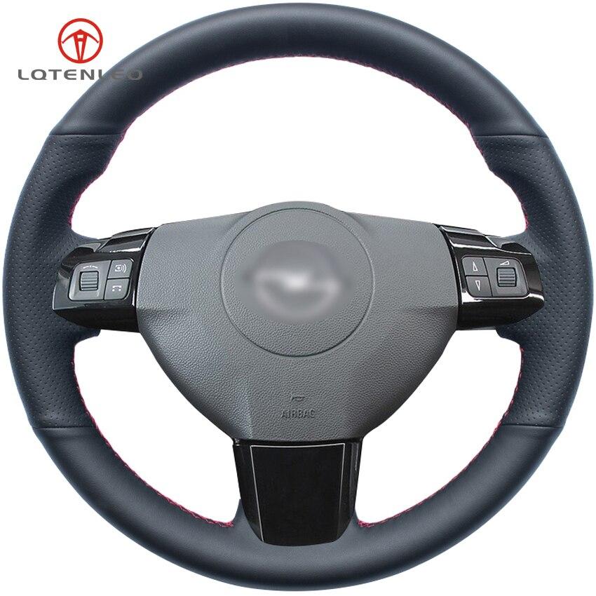 LQTENLEO Black Genuine Leather DIY Car Steering Wheel Cover for Opel Astra 2005 2010 Zaflra 2005