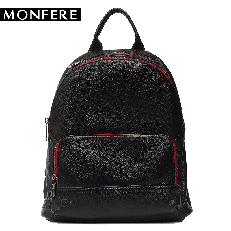 MONFERE genuine leather backpack women 2018 black preppy softback patchwork knapsack cover hasp cowhide zip haversack school bag hot sale women s backpack the oil wax of cowhide leather backpack women casual gentlewoman small bags genuine leather school bag