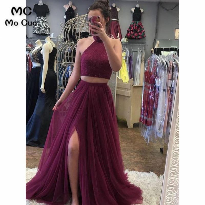 Weddings & Events Ynqnfs E40 Vestido De Festa Bling Sequin High Neck Long Sleeve High Slit Two Piece Burgundy Velvet Evening Dress 2019