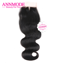 Annmode Brazilian Body Wave Lace Closure Middle Part 4×4 Human Hair Swiss Lace A Piece Free Shipping Non-remy Hair Bundles