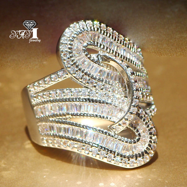 YaYI Jewelry Fashion New Arrival Princess Cut  5.6CT White Zircon Silver Color Engagement Rings Wedding Lovers Party Rings 4