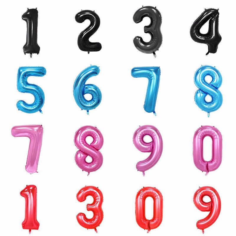 32 дюймов Большой синий розовый номер воздушные шары для дня рождения шар День рождения украшения дети для маленьких мальчиков девочек воздушные шары для праздника номер