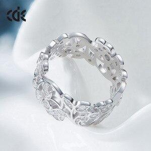 Image 2 - CDE 925 Sterling Silver Rings for Women Hollow Secret Garden Engagement Zircon Finger Ring Bijoux Femme Jewelry Size 6 10