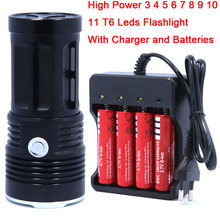 High quality 3-11T6 11 x CREE XM-L T6 LED Flashlight Torch lantern Lamp Light & 4 x 18650 Rechargeable Battery & Charger