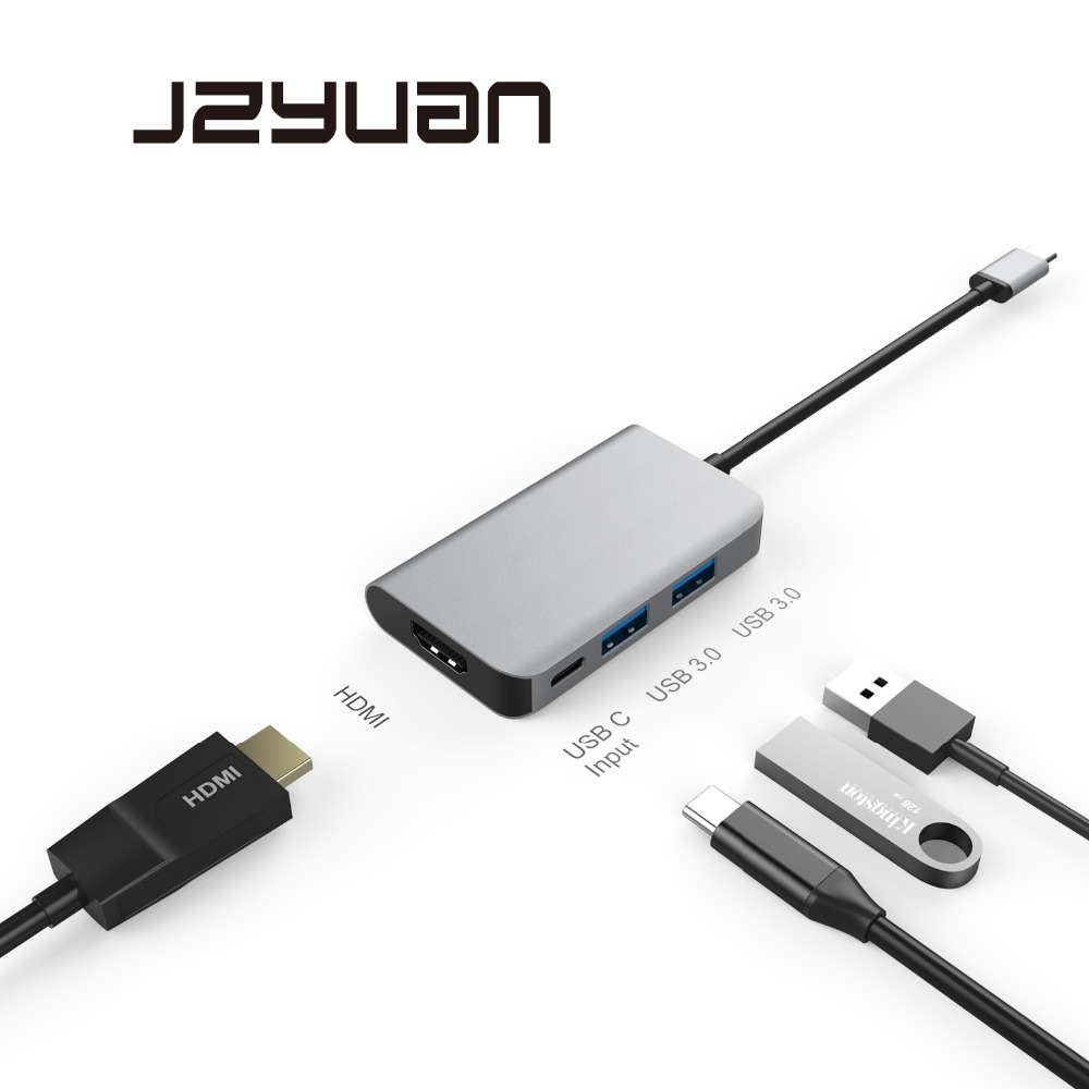 JZYuan USB HUB Type C to HDMI USB 3.0 HUB With Type C PD Charging For Macbook Samsung S9/S8 Huawei P20 Pro Type C HUB USB 3.0 usb type c pd wall charger fast charging power adapter for new macbook pro dell 9350 acer r13 samsung asus hp