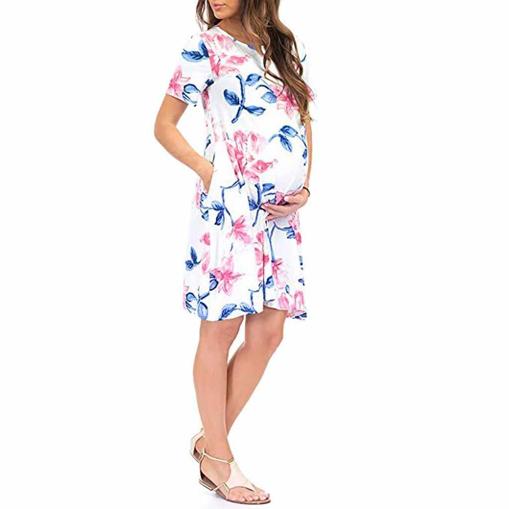 c23868f248da6 2019 Summer Maternity Dresses Roupas Gestantes Gravidas Women's Short  Sleeve Ruched Floral Print Maxi Maternity Pregnancy Dress
