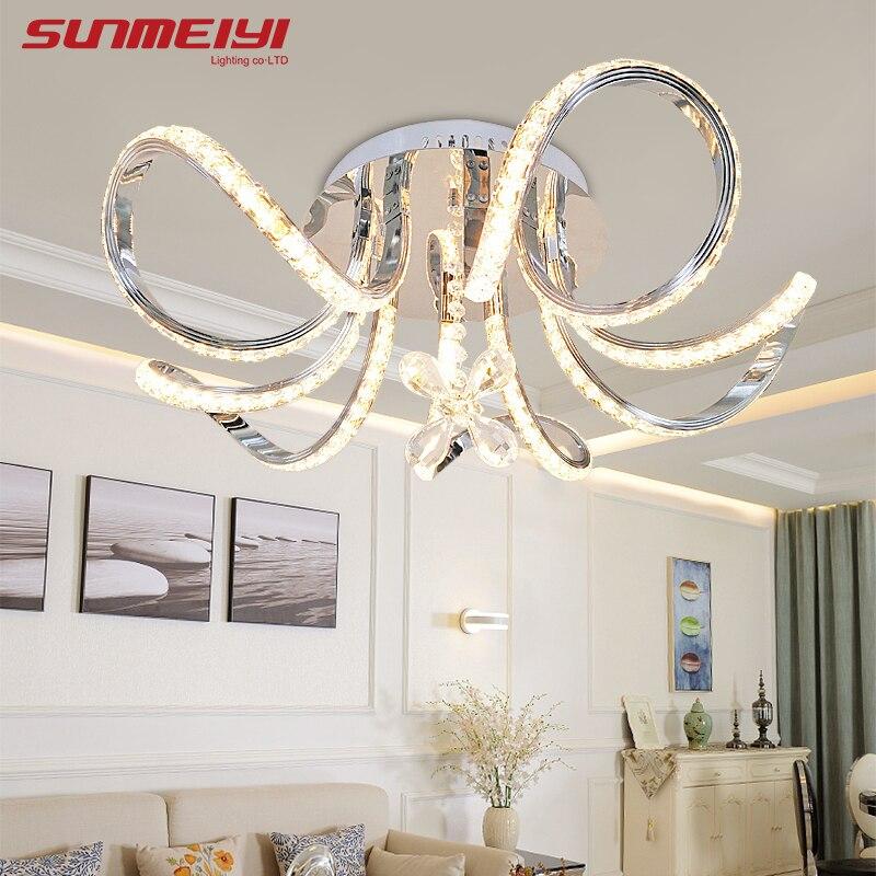 Новый светодиодный потолочный светильник с цветами и кристаллами, светодиодный светильник для гостиной, спальни, современного домашнего освещения, luminaria teto