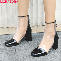 MORAZORA 2019 newest Street Style ankle boots for women patent leather high heels boots pvc top quality summer shoes woman