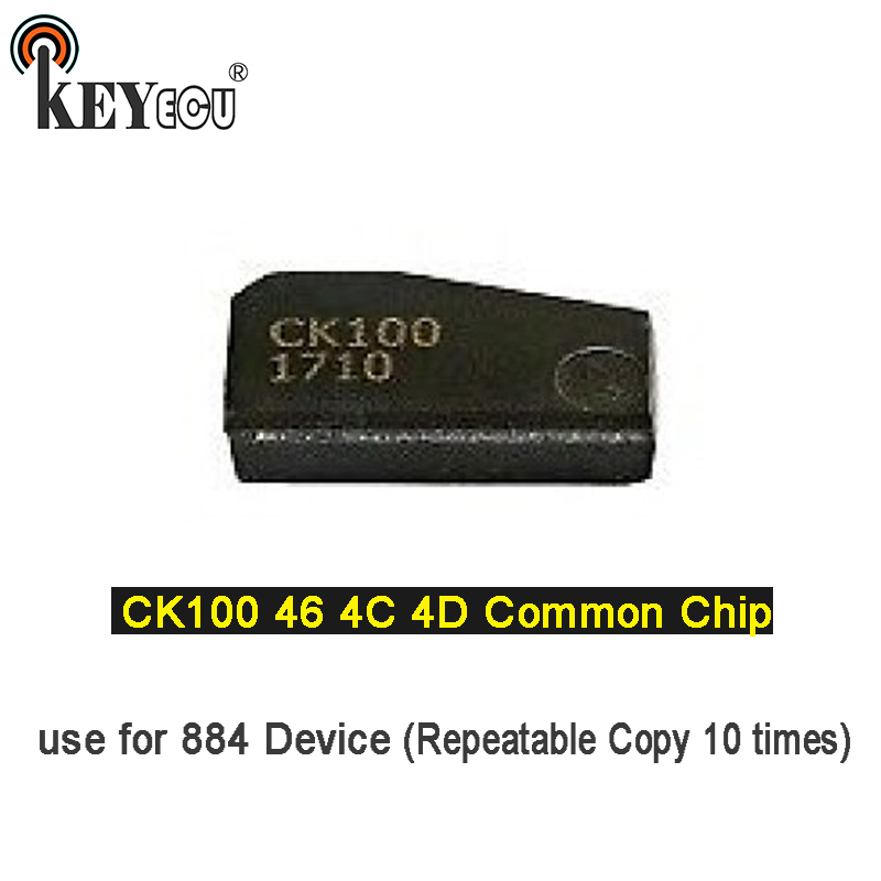 KEYECU 1x/ 2x CK100 46 4C 4D Common Chip Transponder key Car Remote Key Chip use for 884 Device (Repeatable Copy 10 times)