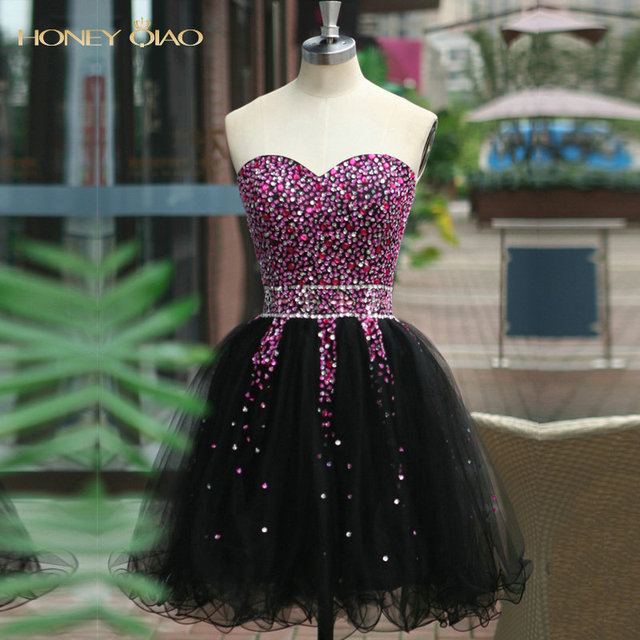 2016 Black Cocktail Dresses Organza Sweetheart Sleeveless Lace Up Crystal Beading Sequins Ball Gown Mini Real Image Hot Sale