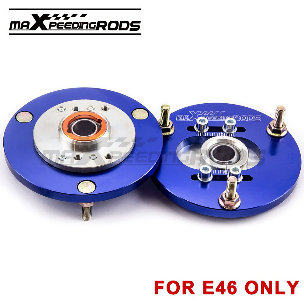 Coilover Camber Plate Pair For BMW E46 320 323 325 328 M3 Front Top Mount Blue Upper Front coilover Suspension Compact Shocks camber plates for bmw 3 series e46 320 323 325 328 m3 316 1998 2005 top mounts golden plates pillow ball golden