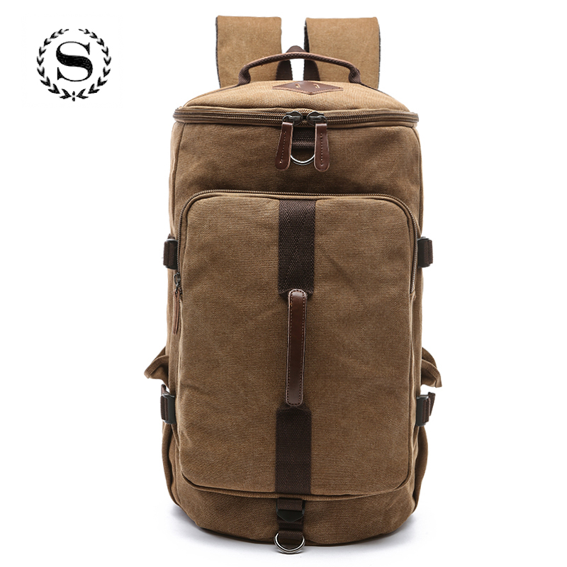Large Capacity Cylinder Travel Bag Canvas Waterproof Profession Luggage  Bags Duffle Backpack Solid High Quality Equipaje y bolso caf102fa4b4