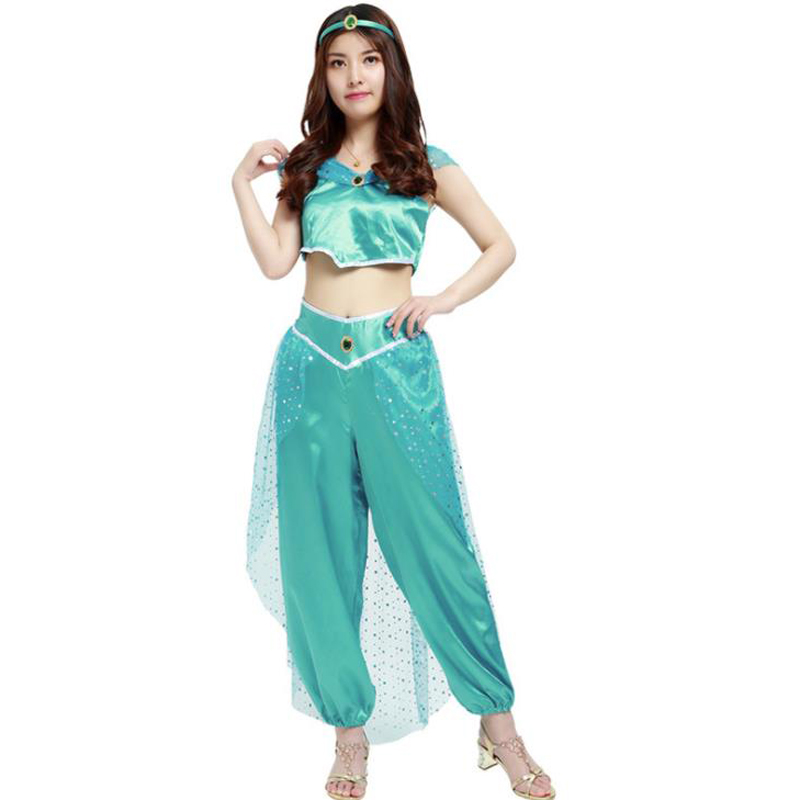Halloween Aladdin magic lamp Aladin Jasmine Princess Lady Arab Cosplay Costumes Female Adult Carnival Party Belly Dance Masquera