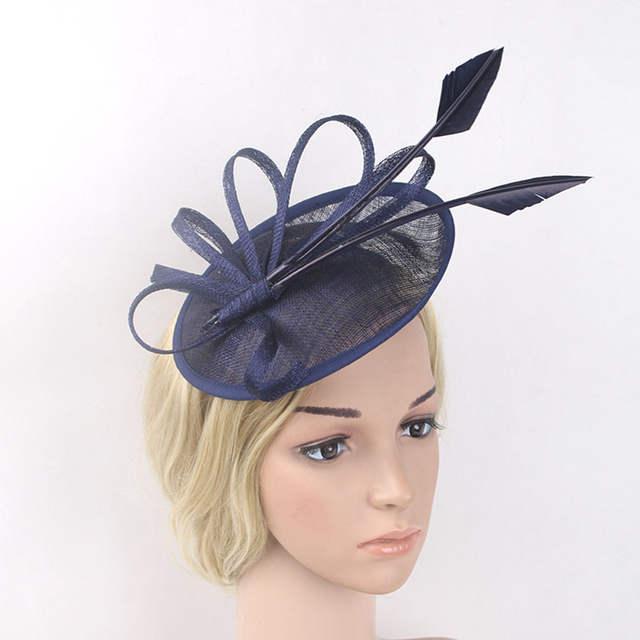 c6bbfbb6958c4 Online Shop Arrow Feather Fascinators Hat Flower Sinamay Headband Pink Red  Navy Wedding Party Hair Accessories Elegant Bride Fascinator