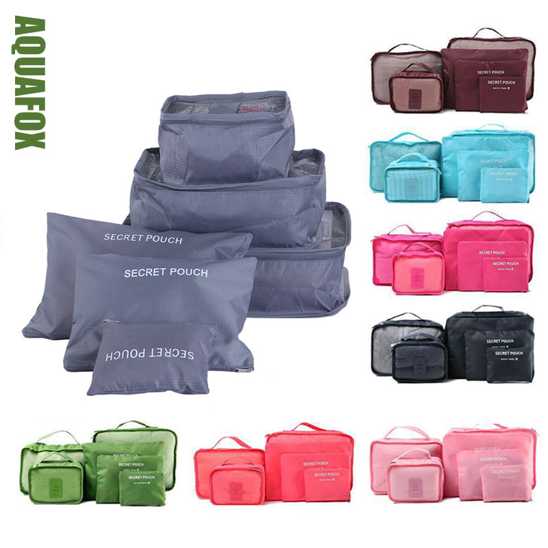 6Pcs/Set Packing Cubes Storage Organiser Travel Accessories Mesh Bag In BagHigh Quality Luggage Clothes Suitcase Bag 30