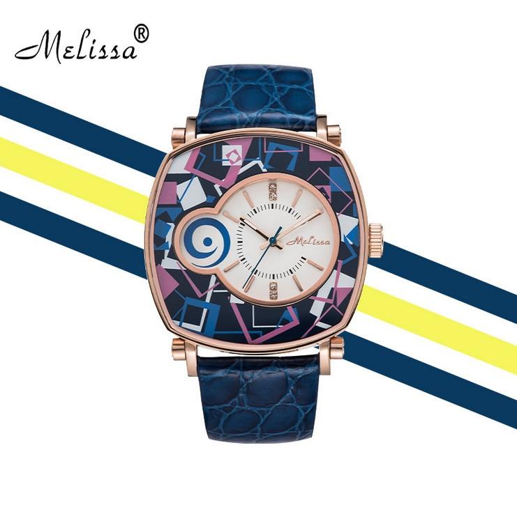 Reloj de pulsera de cuero neutro para mujer con patrones geométricos de nuevo diseñador de melisa Vintage cuadrado Feminino Montre F12190 - 3