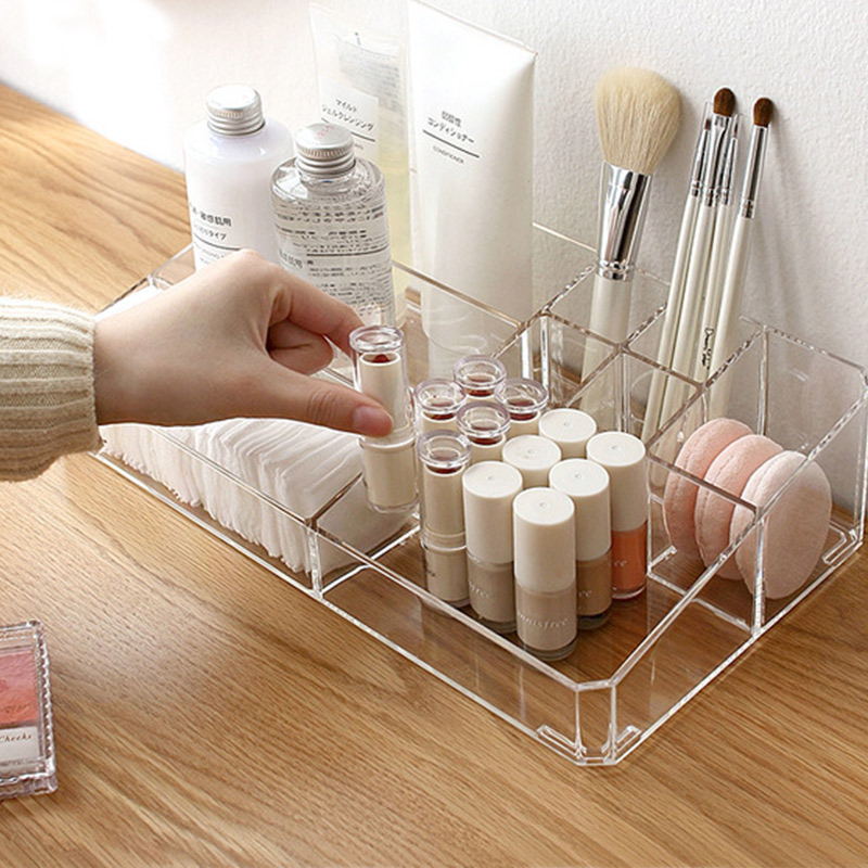Acrylic Makeup Organizer Office Organizer Box Cosmetic Plastic Storage Box Desk Bathroom Cosmetic Storage Case