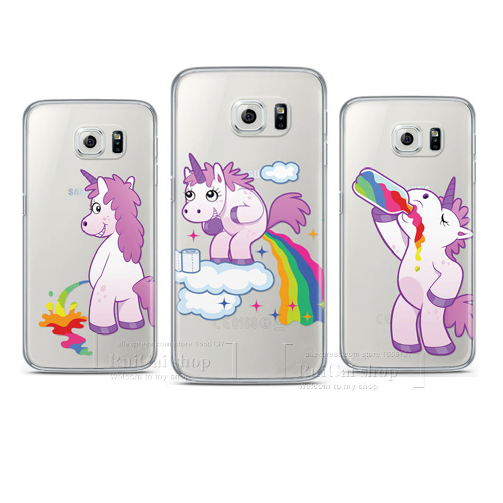 high quality cute hippo rainbow unicorn horse clear pc case for samsung galaxy s3 s4 s5 mini s6. Black Bedroom Furniture Sets. Home Design Ideas