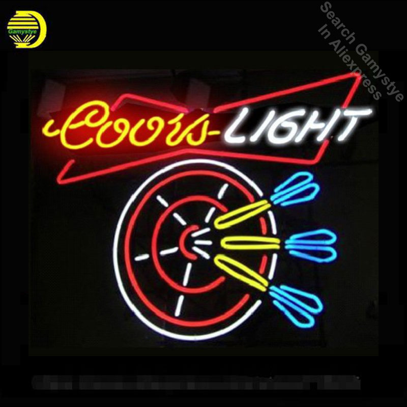 Coors Light dart décor à la maison lumière pour chambre à coucher à la main en verre réel Tube néon signe bière Bar lumière personnalisée néon lumières Art lampes